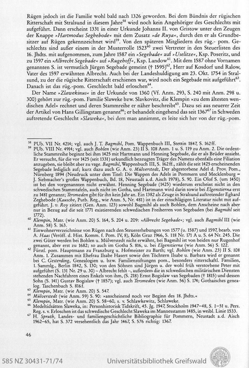 adelsfamilien in pommern